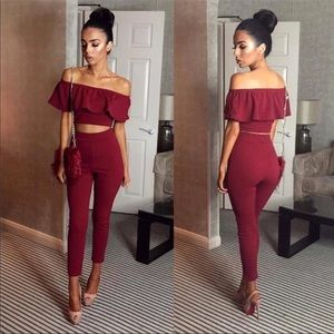 Tops - Wine off the shoulder two piece set